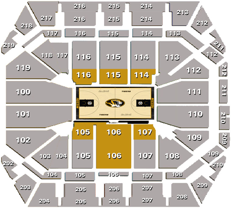 Mizzou arena seating chart university of missouri