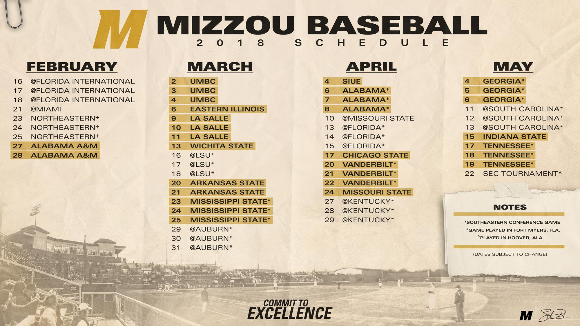 MizzouBaseball Releases Exciting 2018 Schedule   University of