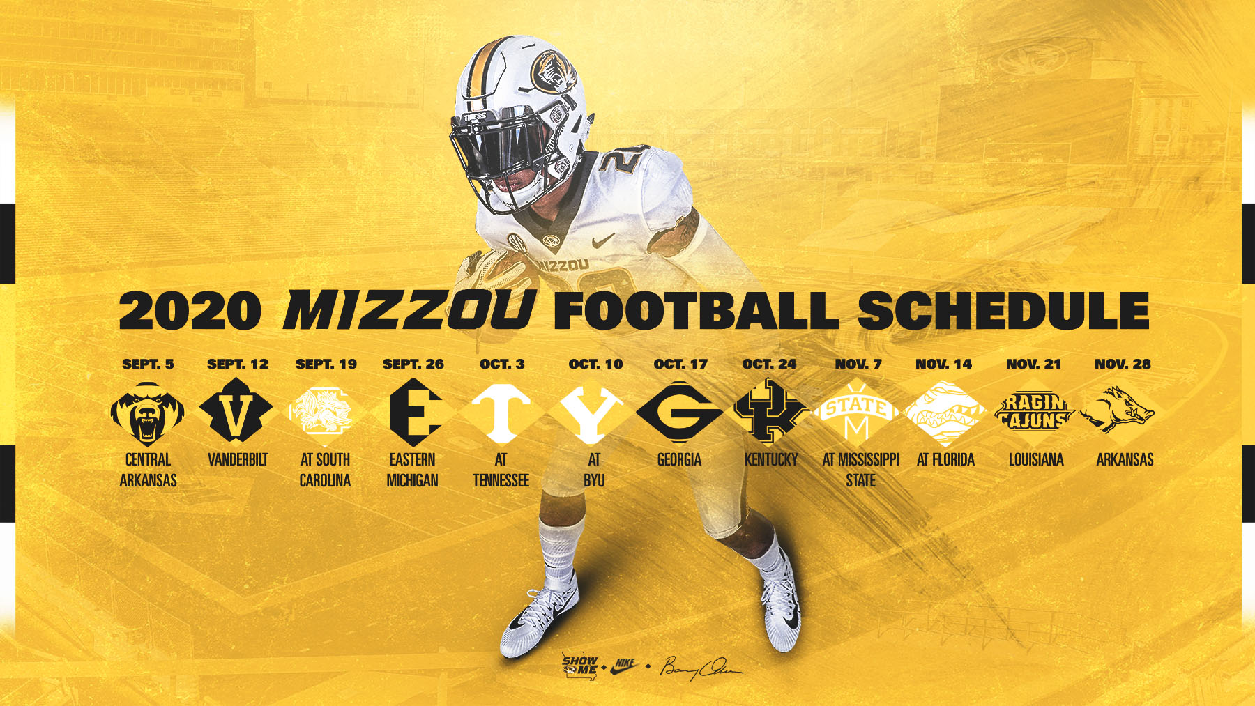 Mizzou Football 2020 Full Schedule Dates Finalized University Of Missouri Athletics
